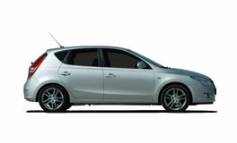 White hatchback side view Stock Image