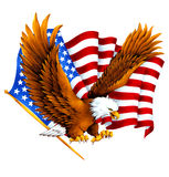 White head eagle and a national flag, Royalty Free Stock Images