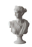 White head marble statue of roman Ceres or greek Demeter. Isolated on white royalty free stock photo