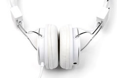 White headphones close-up. Stock Images