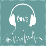White headphones with cord  in shape of cardiogram. Dash line. L Royalty Free Stock Photography