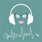 White headphones with digital track line shape cord. Sunglasses and pink lips Love Music card. Flat design Royalty Free Stock Photo