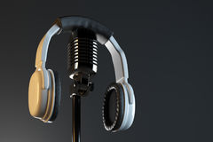 Headphones and mic, record concept Stock Image