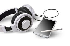 White headphones and smart phone. Stock Photography