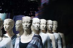 White Heads. Headshots of several white mannequins Stock Image