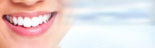 White healthy smile. Beautiful young woman smile close-up portrait. Dental health Royalty Free Stock Photos