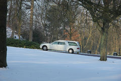 White hearse in the winter Stock Photography
