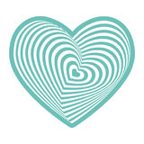 White heart on aqua sky blue on white background. Optical illusion of 3D three-dimensional volume. Vector Stock Images