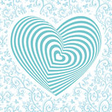 White heart on aqua sky blue, floral ornament background. Optical illusion of 3D three-dimensional volume. Vector Royalty Free Stock Image