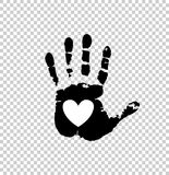 White heart in black palm print. Black silhouette of human hand print with heart sign in open palm isolated on transparent background. Vector monochrome Royalty Free Stock Images