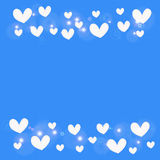 White heart on blue background Stock Images