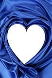 White heart of blue silk Stock Image