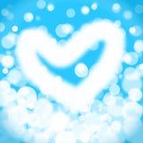 White heart bokeh blur on light blue background. Stock Image