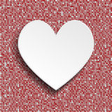 White heart button on red sequin background. Stock Photography