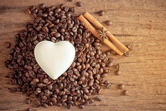 White heart on coffee bean Stock Images