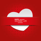 White Heart Convert Red Banner Ornaments. White heart with red banner, on the red background Royalty Free Stock Photos