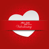 White Heart Convert Red Banner Ornaments. White heart with red banner, on the red background. German text Alles Gute zum Valentinstag, translate Happy Royalty Free Stock Photo