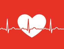 White heart with ekg symbol on red background - me Stock Photography