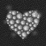 White Heart Filled with Diamond Gem Stones. Valentine Greeting Card Stock Photos