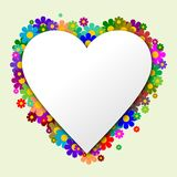 The white heart with flowers in the background. And green backgraund Royalty Free Stock Photo
