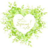 White heart frame with text hello spring Royalty Free Stock Image