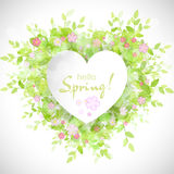 White heart frame with text hello spring. Green background with leaves and flowers. Creative vector design for wedding invitations, greeting cards,  spring Stock Photo