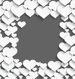 White heart frame. Vector illustration of 3d white plastic heart frame with realistic shadow on dark gray background Royalty Free Stock Image