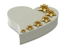 White heart gift box and golden flowers on the top Royalty Free Stock Images