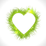 White heart with green fresh grass Royalty Free Stock Photo