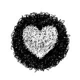 White heart. Hand drawing of heart doodle on black circle by crayon . use for background Royalty Free Stock Photography