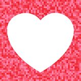 White Heart icon on Red Pixel Background Royalty Free Stock Photos