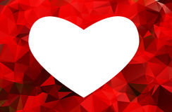 White heart isolated on red background Royalty Free Stock Images