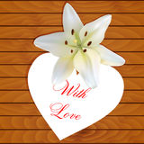 White heart with lily Stock Photography