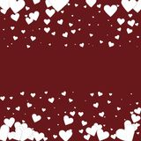 White heart love confettis. Valentine`s day border. S energetic background. Falling stitched paper hearts confetti on maroon background. Decent vector stock illustration