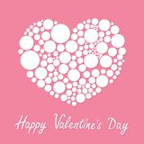 White heart made from many round dots Love card Flat design Happy Valentines day Royalty Free Stock Image