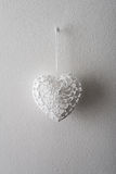 White heart made of thread Stock Images