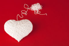 White heart made of wool Royalty Free Stock Image