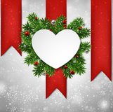 White heart paper christmas card. Royalty Free Stock Images