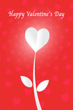 White heart paper cut flower and happy valentine day Royalty Free Stock Photo