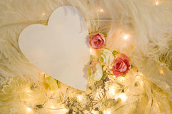 White heart paper on romantic background Stock Photo