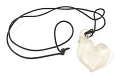 White heart pendant necklace Stock Photos