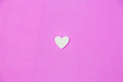 White heart. On pink background , isolated , Valentine Concept , Happy time Stock Photography