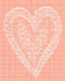White heart on a pink background squared.  Royalty Free Stock Image