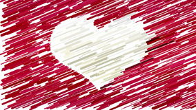 White heart on red background abstract animation stock video footage