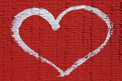 White heart on red background, beautiful abstract background love Royalty Free Stock Images