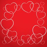 White heart on red background. card desig vector Royalty Free Stock Photo