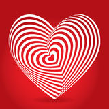 White heart on red background. Optical illusion of 3D three-dimensional volume. Royalty Free Stock Image