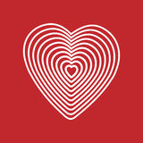 White heart on red background. Optical illusion of 3D three-dimensional volume. Vector illustrator. Good for design, logo or decor Royalty Free Stock Image