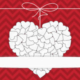 White heart on a red background template Royalty Free Stock Images