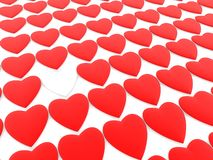 White heart between red hearts. In background vector illustration